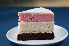A scratch Neapolitan layer cake made by combining Hershey's Perfectly Chocolate Cake, Bonnie Butter Cake and a little strawberry Jell-O. Cake Cookies, Cupcake Cakes, Neapolitan Cake, Strawberry Cake Recipes, Box Cake Mix, Dessert Recipes, Desserts, Savoury Cake, Buttercream Frosting