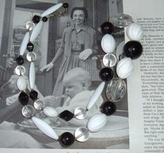 Lucite Vintage Plastic Black And White Necklace by spankyluvsvintage2 $7