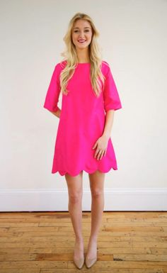 scallop dress in pink