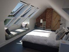 Small Attic Bathroom, Attic Master Bedroom, Attic Bedroom Designs, Upstairs Bedroom, Attic Rooms, Bedroom Loft, Loft Conversion Furniture, Loft Conversion Uk, Loft Conversion Bedroom