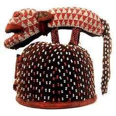 """BAMILEKE, BEADED OBJECT 11, 11'x12.5""""  .Most Bamileke art (and the work of other kingdoms of the Cameroon Grasslands) relates to... African Life, African Culture, African History, African Art, Masks Art, African Masks, African Beads, Headgear, Headdress"""