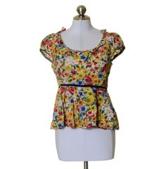 Odille Bright Bold Multi-Color Floral Print Cotton Scoop Neck Peplum Blouse Sz 8 #Odille #Blouse #Casual