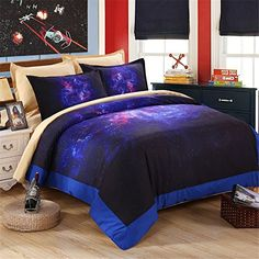 EsyDream Home Bedding SetsHipster Galaxy Bedding Set Universe Outer Space Bedspreads King Queen SizeeFashion Themed Space Kids Duvet Cover Sets No ComforterQueenFull Size >>> Details can be found by clicking on the image.