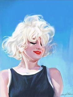 Marilyn Monroe by Henry LaMarr Marilyn Monroe Drawing, Marilyn Monroe And Audrey Hepburn, Marilyn Monroe Artwork, Norma Jean Marilyn Monroe, Illustrations, Illustration Art, La Reproduction, Brown Eyed Girls, Norma Jeane