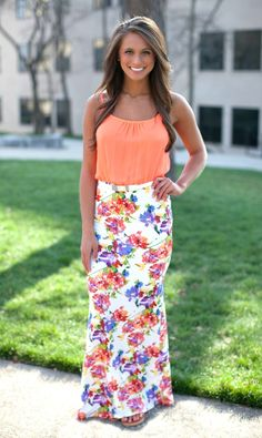 The Pink Lily Boutique - Flower Frenzy Maxi Neon Coral, $42.00 (http://thepinklilyboutique.com/flower-frenzy-maxi-neon-coral/)