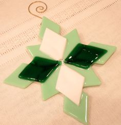 Snowflake Christmas Ornament Fused Glass Green by HangingValley, $12.50