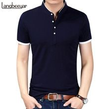 2017 nueva manera del verano marca clothing camiseta de los hombres de color sólido Slim Fit de Manga Corta T Camisa de Los Hombres Del Collar Del Mandarín Casual camisetas(China (Mainland))