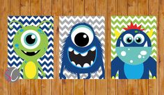 Instant Download Monster Wall Art Decor Navy Blue Lime Green Toddler Child's Boys Bedroom Set of 3 5x7 Digital JPG Files (200)