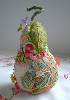 . . Crazy Quilt Pear Pincushion-~By Fiberluscious