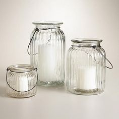 Clear Ribbed Glass Lantern Candleholder | World Market