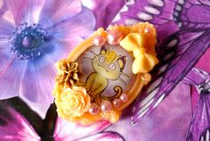Off White Meowth Inspired Pokemon Brooch by AlicesCheshireCat