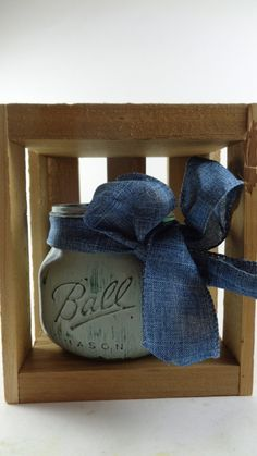 Beautiful Vintage Style Two-Toned Pint Mason Jar Wrapped In Denim Ribbon - (Price does not include wooden box) Rustic, Cottage Chic, Ball by palletablesshoppe. Explore more products on http://palletablesshoppe.etsy.com