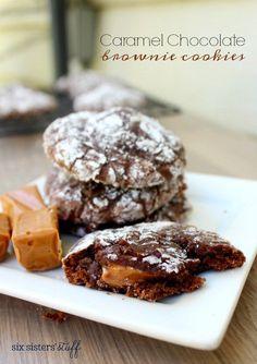 Caramel Chocolate Brownie Crinkle Cookies Recipe – Six Sisters' Stuff