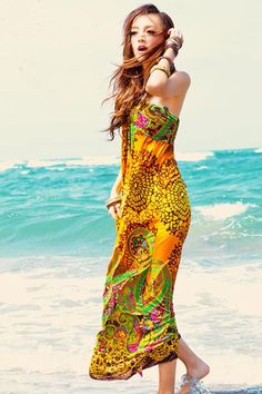 Bohemian V Neck Off The Shoulder Sleeveless Yellow Cotton Beach Ankle Length Dress