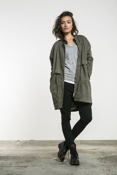Army jacket and Dr. Martens
