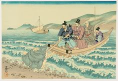 "Life of Holy Priest Nichiren. ""Refused"" by Tenrei Horiuchi (1903-1982). From ""Nichiren Seijin Goichidai Ki Gafu"" (""Picture Album of the Life of the Holy Priest Nichiren""). Nichiren is leaving Yuigahama beach on a boat. A pupil of him wants to come along but is refused by the Samurai guards. Mt. Fuji is seen in the distance."