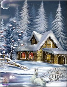 Merry Christmas (click the image -- it twinkles -- W should like it) Merry Christmas 2017, Christmas Scenes, Christmas Images, Christmas Art, Winter Christmas, Animated Christmas Pictures, Winter Art, Winter Time, Winter Snow