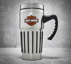 Take the spirit of the road with you on your morning commute. | Harley-Davidson Stainless Steel Travel Mug with Handle