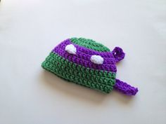 $15.00 - Baby boy Infant Teenage Mutant Ninja Turtle Donatello crochet beanie hat, size Newborn 0-3 Months and 3-6 Months. Keep your little one's head warm with this cute Donatello Teenage Mutant Ninja Turtle crochet hat! Perfect for photo shoots or everyday wear! If you don't see your size, ask the seller!
