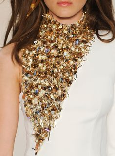 Glorious Gold Accents - asymmetric beaded dress detail // Alexandre Vauthier