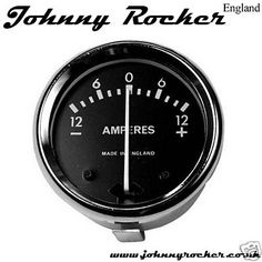 Ammeter LUCAS style 1 Diameter Chrome black don't see the need but this would be pretty cool on our AJS bobber Old School Motorcycles, Custom Headlights, Bobber Chopper, Bobbers, Choppers, Motorcycle Parts, Pretty Cool, Chrome, Black