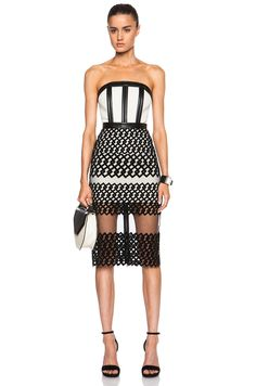 David Koma Strapless Poly Dress with Flocked Hem in Ivory & Black