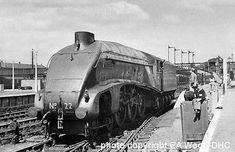 LNER class pacific locomotive, 'Mallard' at Doncaster Diesel Locomotive, Steam Locomotive, Wagon Trails, Electric, Steam Railway, Old Trains, Steam Engine, Train Tracks, Historical Pictures