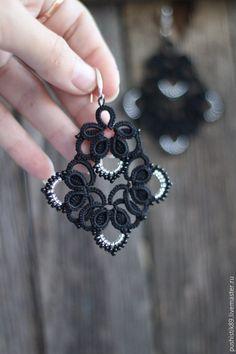 Made to order Tatting Earrings, Tatting Jewelry, Lace Earrings, Lace Jewelry, Handmade Jewelry, Tatting Patterns Free, Crochet Patterns For Beginners, Needle Tatting, Tatting Lace