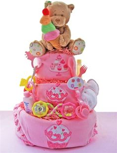 Cupcakes 3 layer Baby Girl Pink Diaper Cake for Baby Shower Gift - Forget-Me-Not Gift Baskets