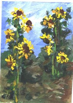 ACEO SUNFLOWER GARDEN impressionist painting by jimsmeltzgallery, $20.00