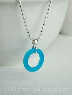 Blue circle necklace, World Diabetes Day, D MamaOwl boutique on Etsy and FB