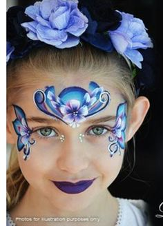 Blue / Violet Floral mask Face Painting Images, Face Painting Flowers, Face Painting Tutorials, Face Painting Designs, Princess Face Painting, Girl Face Painting, Mask Painting, Body Painting, Christmas Face Painting