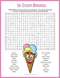 Have some fun with the kids while the weather is warm and the ice cream extra delicious. There are 22 different flavors of ice cream to hunt down in this printable word search activity. Ice Cream Games, Ice Cream Theme, Ice Cream Day, English Worksheets For Kids, Summer Worksheets, Ice Cream Social, Work Activities, Ice Cream Flavors, Puzzles For Kids