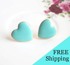 Christmas Gift Under 20 For Her Turquoise Earrings Heart Studs Post Aqua Teal Blue Mint Jewelry Sister Best Friend Mother Girlfriend