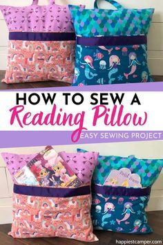 How To Sew A Reading Pillow, Looking for an easy sewing project to make for your kids? Learn how to make these absolutely ADORABLE reading pillows with our step-by-step tutorial. How To Sew A Reading Pillow Sewing Machine Projects, Sewing Projects For Beginners, Easy Kids Sewing Projects, Christmas Sewing Projects, Christmas Fabric, Crafty Projects, Easy Projects, Sewing For Kids, Free Sewing