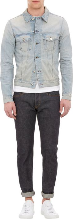 $289, Trucker Jean Jacket by Simon Miller. Sold by Barneys Warehouse. Click for more info: http://lookastic.com/men/shop_items/142132/redirect