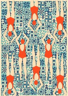 ''Art Deco Print // Swimmers print // Papercut Print by Lou Tayylor Papercuts on Etsy UK Can pattern be editorial illustration? Motif Art Deco, Art Deco Print, Art Deco Pattern, Art Deco Design, Pattern Design, Art Deco Fabric, Art Deco Tiles, Pattern Ideas, Textures Patterns