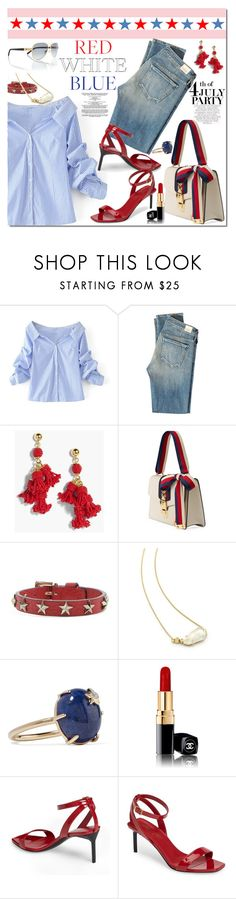 """""""Red, White & Blue: Celebrate the 4th!"""" by margaretferreira ❤ liked on Polyvore featuring WithChic, Citizens of Humanity, J.Crew, Gucci, RED Valentino, Kendra Scott, Andrea Fohrman, Chanel, Yves Saint Laurent and Tory Burch"""
