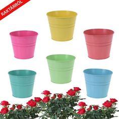 Penny asztali virágcserép fémből. Színei: pink, világos zöld, kék, sárga, világos rózsaszín, zöld Planter Pots, Tableware, Design, Dinnerware, Tablewares, Dishes, Place Settings
