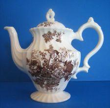 Teapot Staffordshire Myott brown transferware white Bountiful