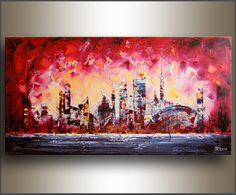 TITLE: Abstract cityscape - ready for shipping    DESCRIPTION: Original oil palette knife painting by Tatjana Ruzin  SIZE: 24X48X1.5  MEDIUM: Oil