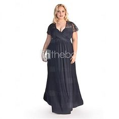 Women's Plus Size / Party/Cocktail / Club Sexy / Vintage Sheath Dress,Solid Deep V Maxi Short Sleeve Blue BN0190 - USD $24.99 ! HOT Product! A hot product at an incredible low price is now on sale! Come check it out along with other items like this. Get great discounts, earn Rewards and much more each time you shop with us!