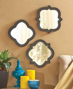 Make any room feel bigger by adding this 3-Pc. Mirror Set. Create an interesting display using all 3 mirrors, or split the set and hang them separately. Cl