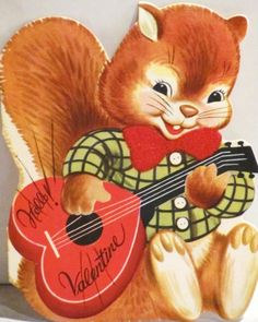Vintage Squirrel Valentine. This is so cute. I <3 squirrels. For scrapbooking, altered art, gift tags, framing, cards.