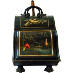 Check out this item at One Kings Lane! Chinoiserie Tole Coal Hod