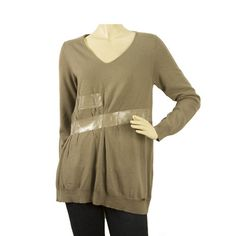 Atos Lombardini Taupe Oversized Wool Knit Top Long Sleeve Sweater wιth tape fx