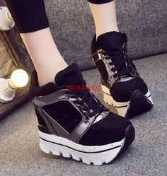 Womens Super High Platform Creeper Wedge Sneakers Sport Shoes 12Cm Heel Size