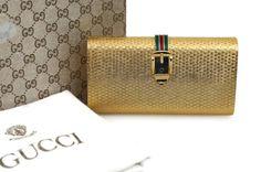Hebilla de esmalte icónico de GUCCI Vintage Gold Minaudiere