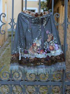 RESERVED for LIZBETH--Night's starry sky, embroidered bohemian romantic skirt, antique and vintage lace, silks, unique wearable art,
