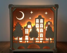 Night Light Grachten Buildings by houtlokael on Etsy